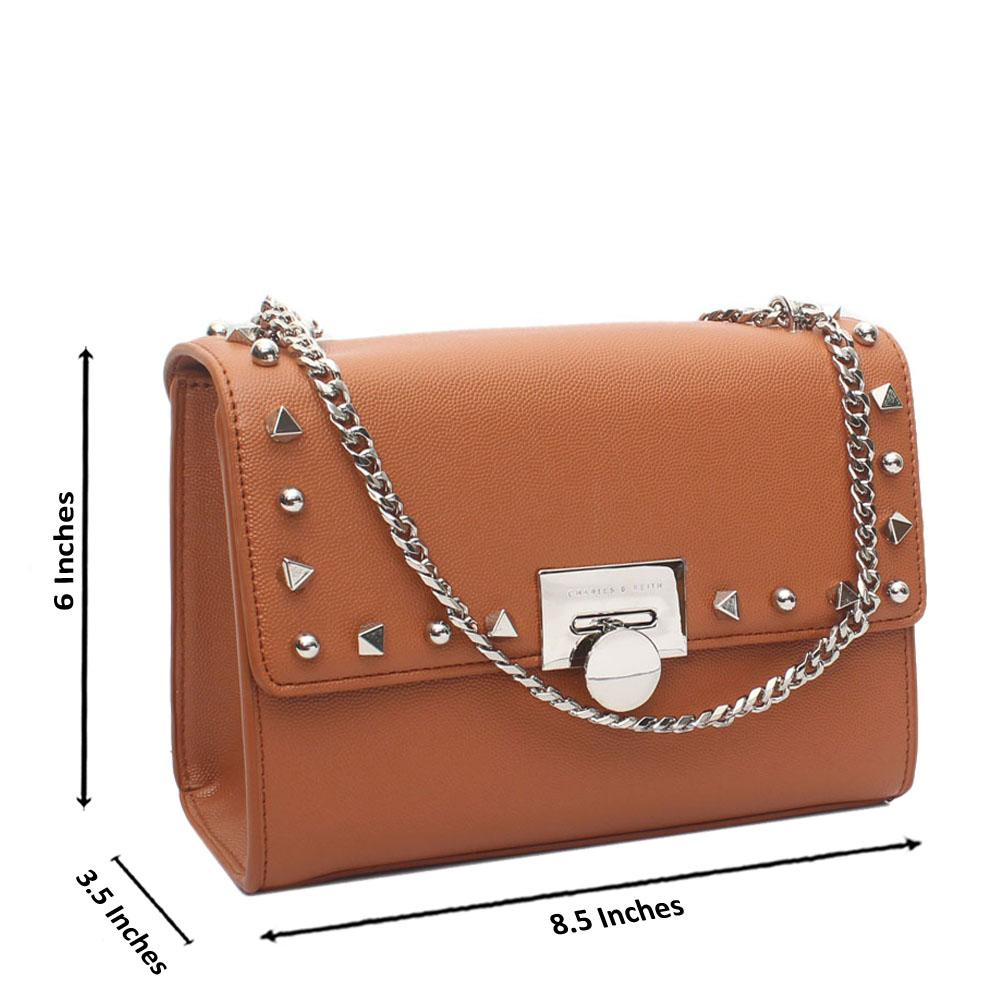 Brown Studded Leather Crossbody Bag