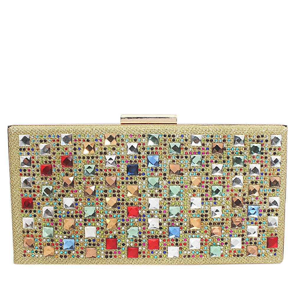 Gold Glitz Studded Hard Clutch Purse