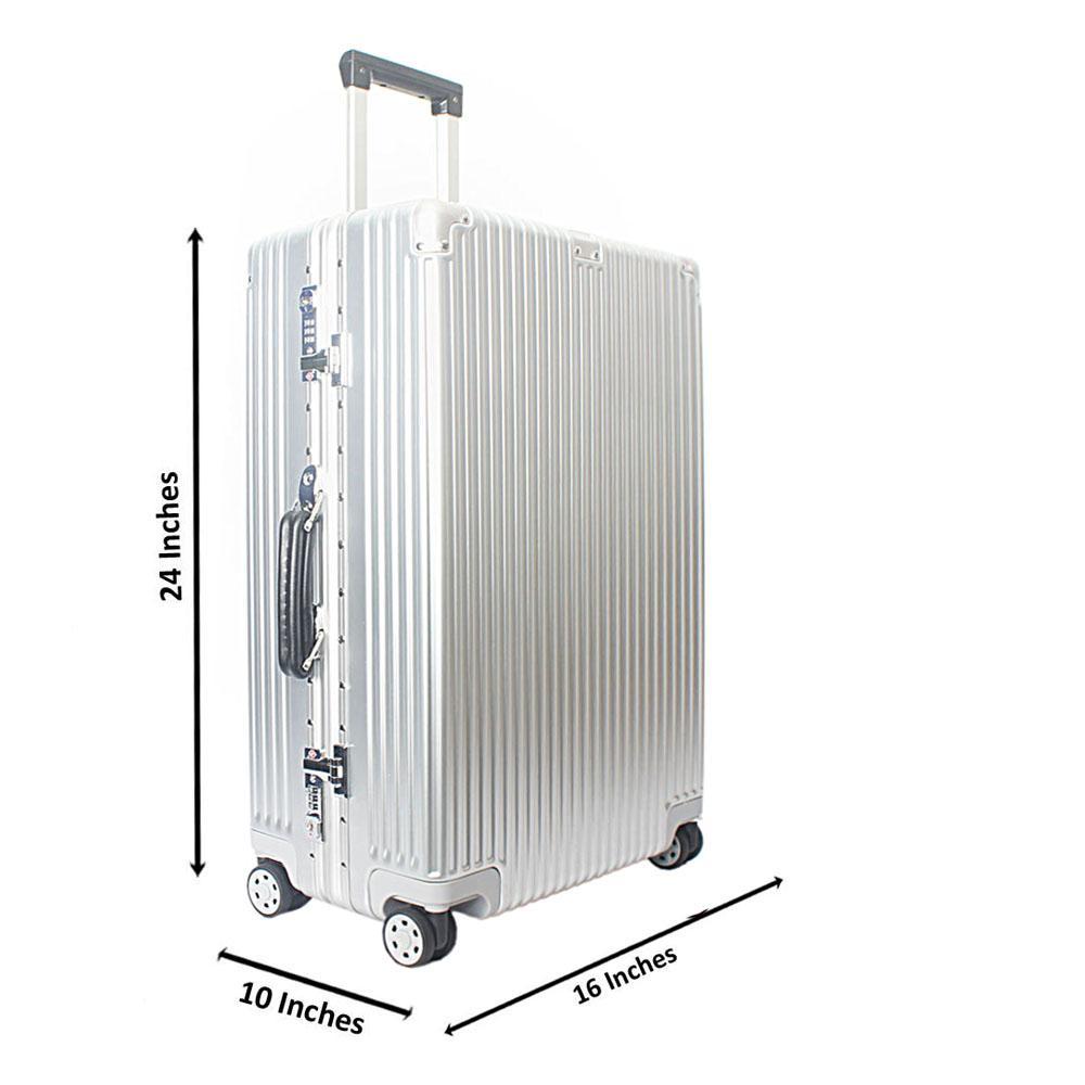 Silver 24 Inch Hardshell Medium Suitcase Wt TSA Lock