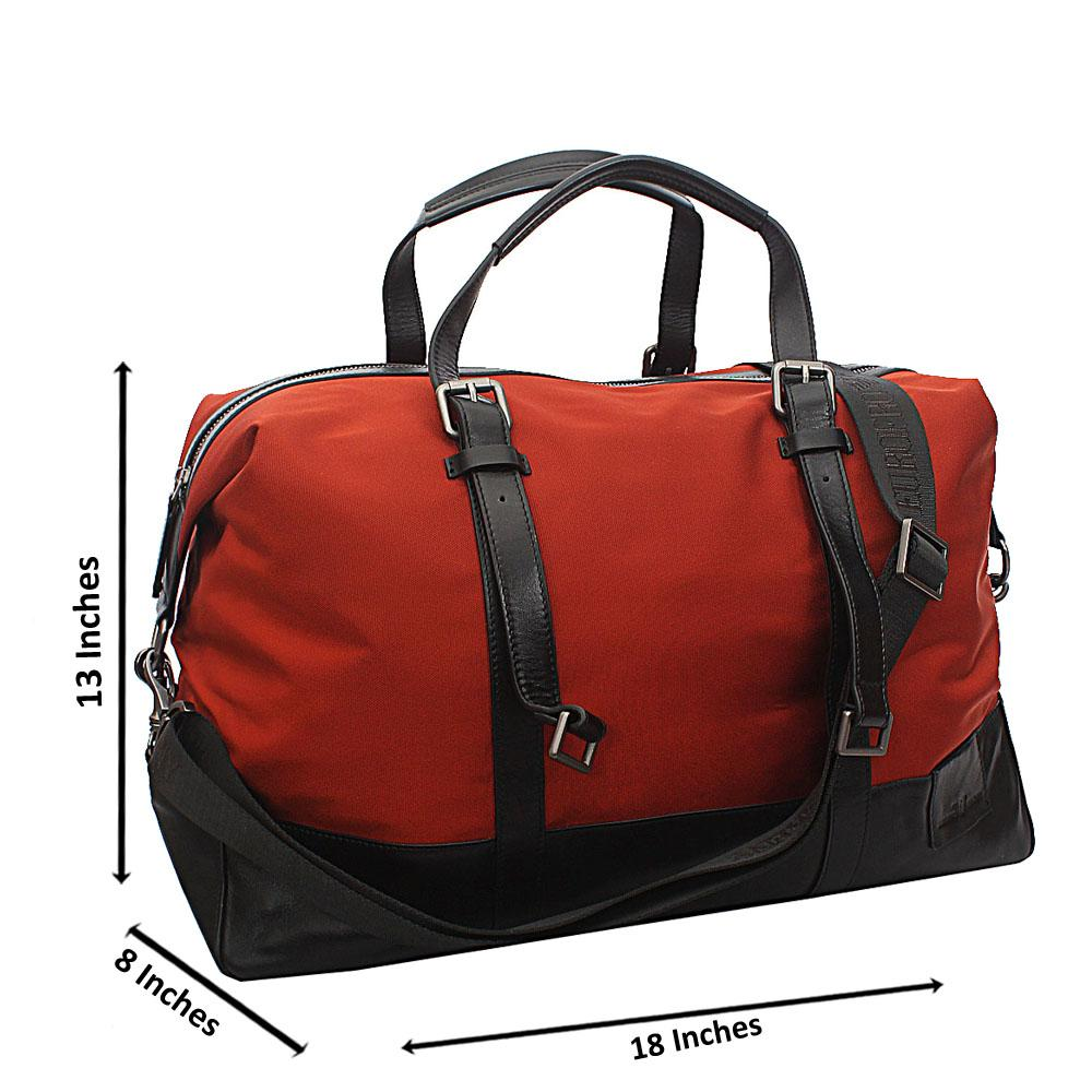 Armaeny Orange Black Smooth Cowhide Leather Duffel Bag