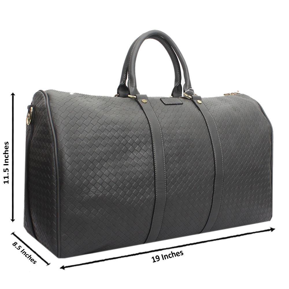 Grey Check Leather Large Boston Bag