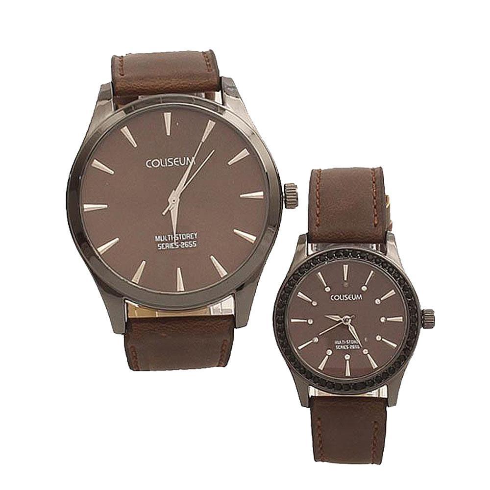Coliseum Cherish Me Brown Leather Couples Watch-