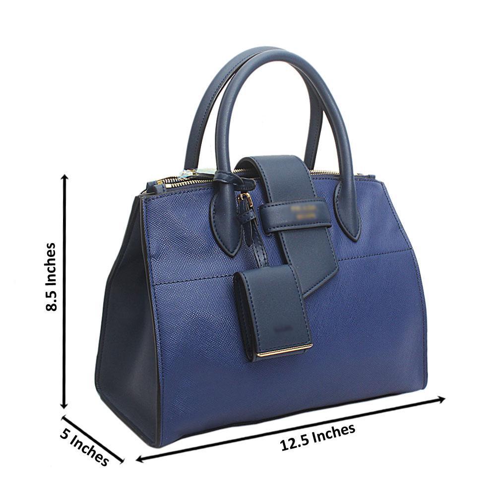 Navy Cahier Saffiano Leather Handbag