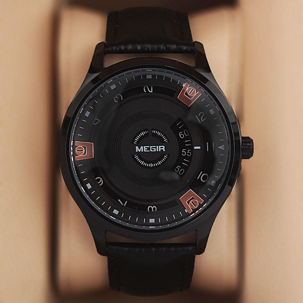 MG Black Croc Leather Jump Hour Watch