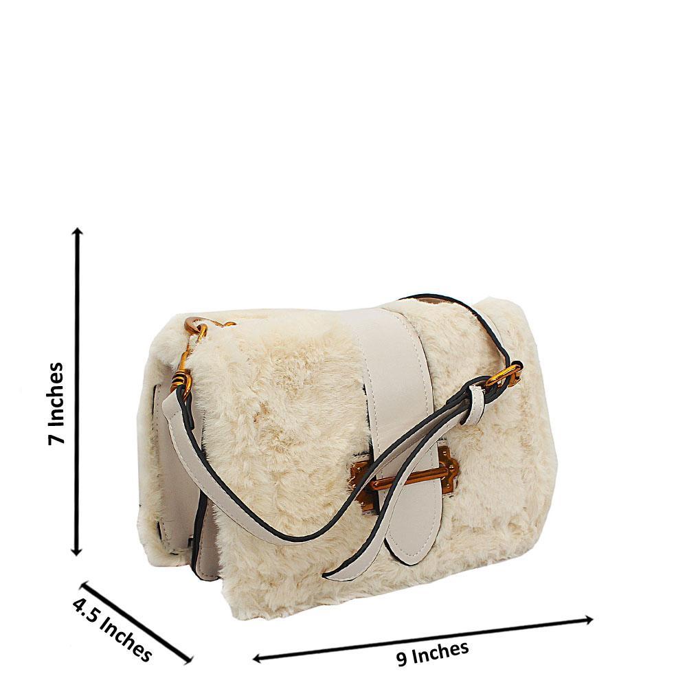 Cream Lacey Woolly Tuscany Leather Crossbody Handbag