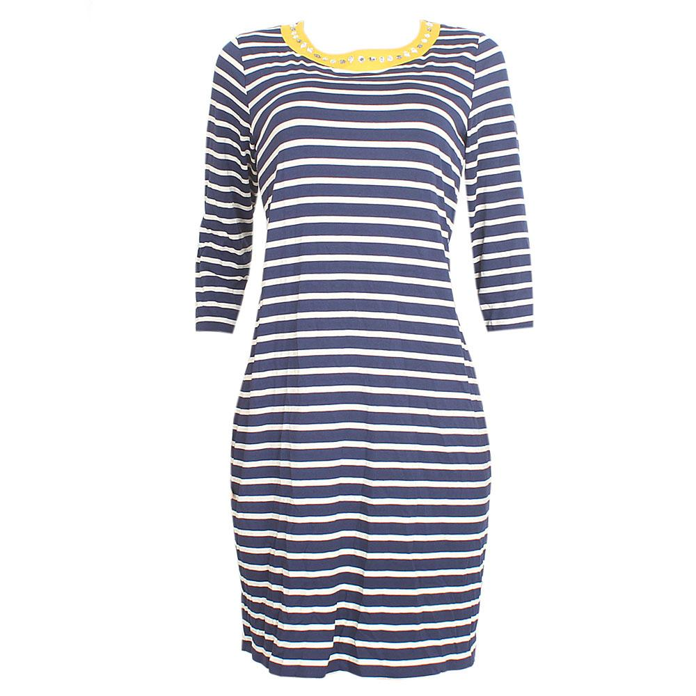 M & S Navy Cream 3/4 Sleeve Cotton Dress