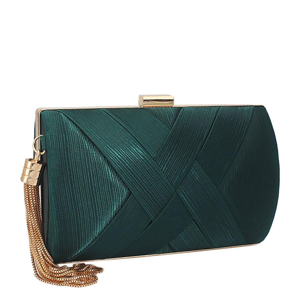 Green Pleated Satin Clutch Purse
