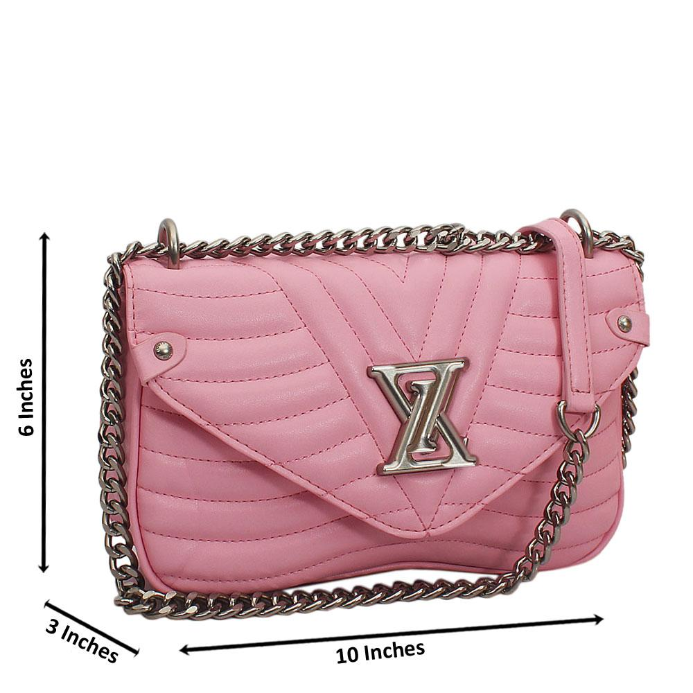 Pink  New Wave MM Chain Tuscany Leather Crossbody Handbag