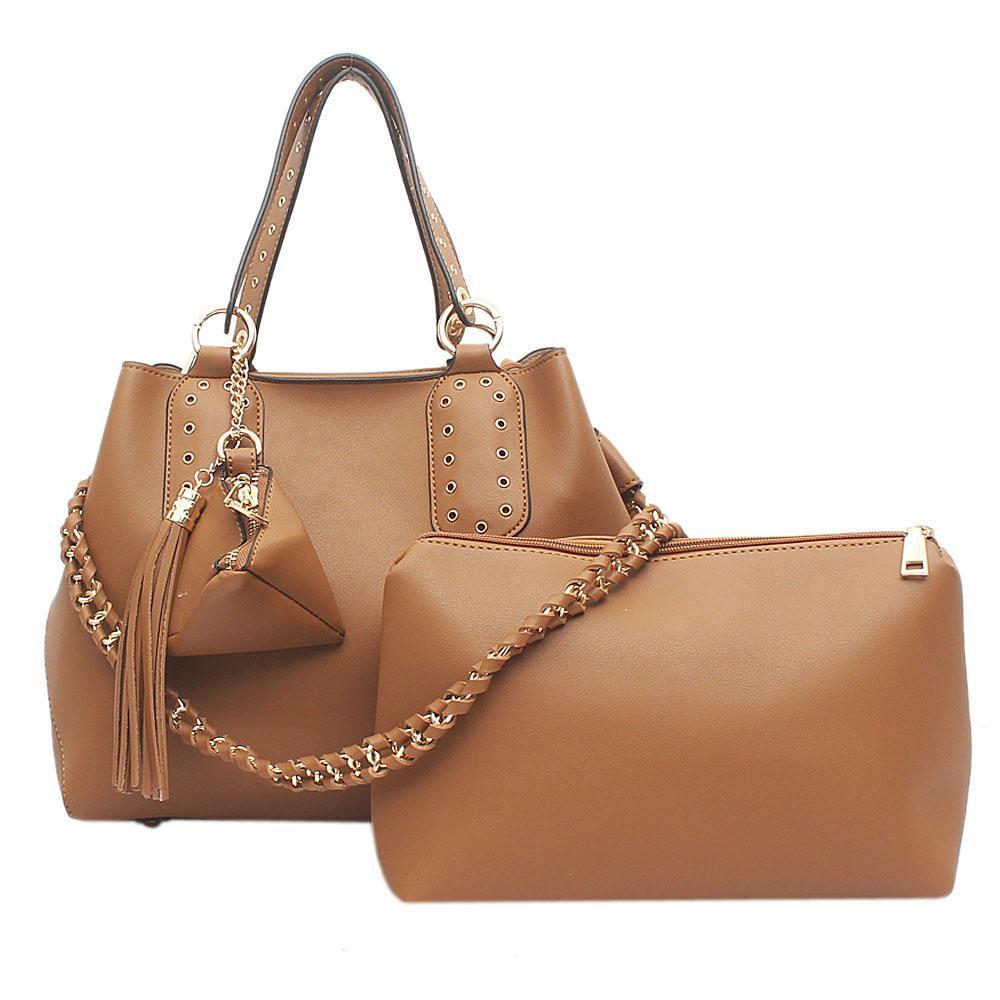 London Style Brown Leather Handbag   Wt Purse