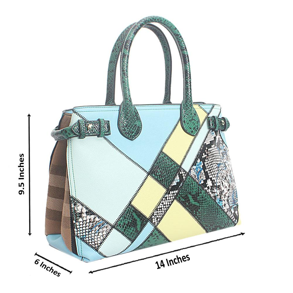 Blue Mix Croc Patch Saffiano Leather Handbag