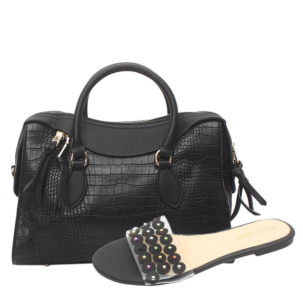 Black Croc Leather Tote Bag
