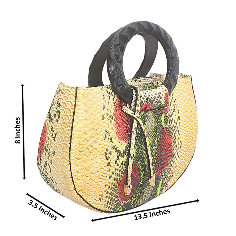 Gold Mix Skin Leather Medium Gorgeous Handbag
