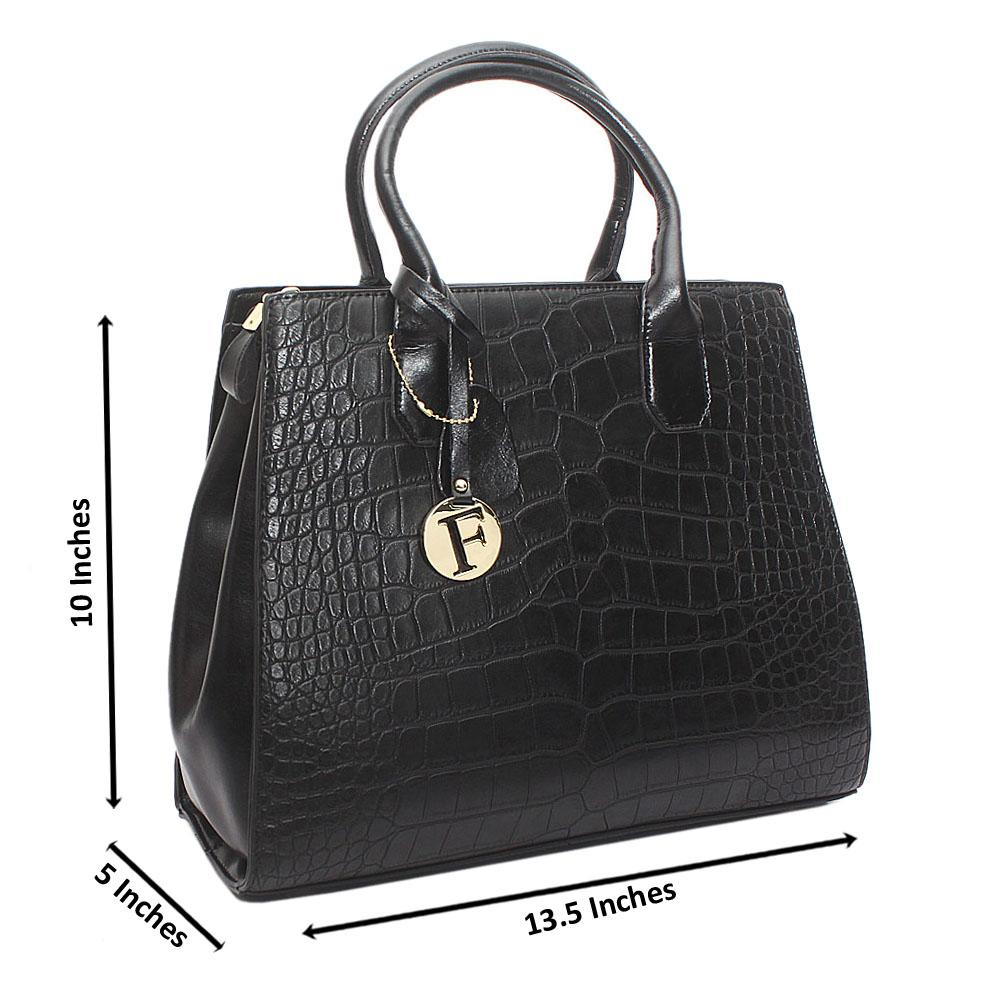 Black Avalon Medium Croc Leather Handbag