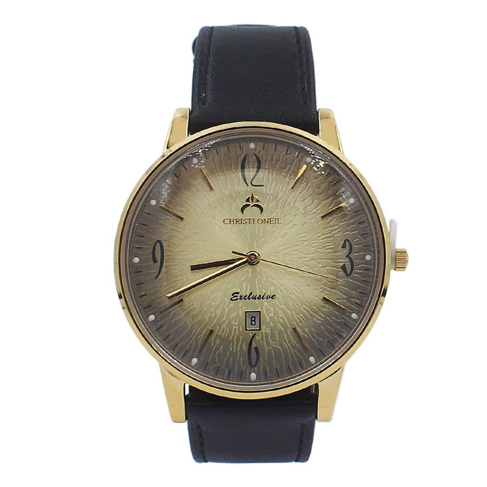 Black Gold Iconic Leather Flat Watch
