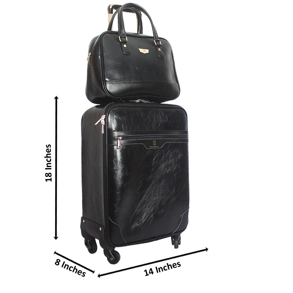 Black Casania Leather 20 Inch Carry On Luggage wt Black Travel Bag