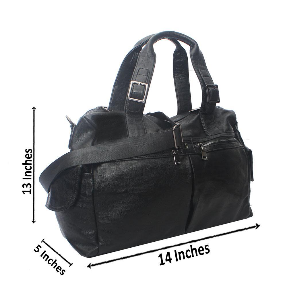 Casania Black Double Pocket Zip Overnight Travel Bag