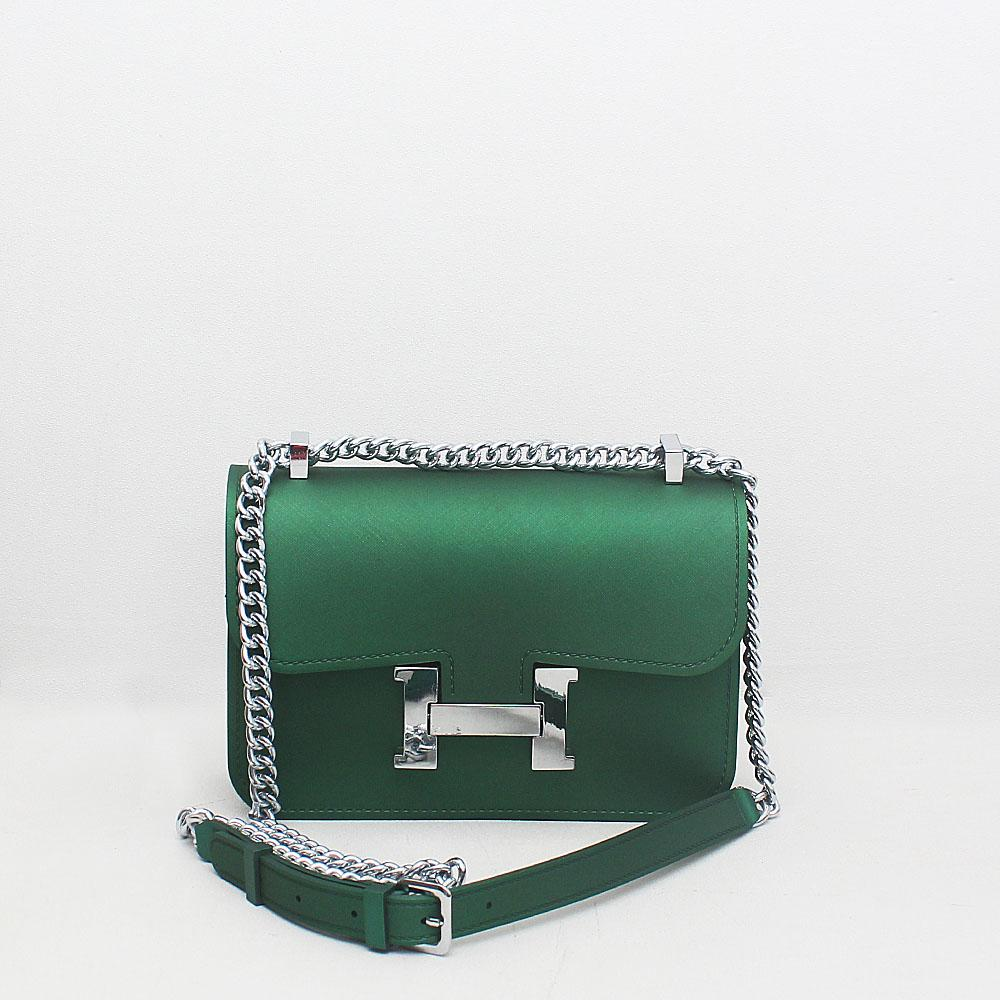 London Style Green Rubber Small Studded Cross Body Bag