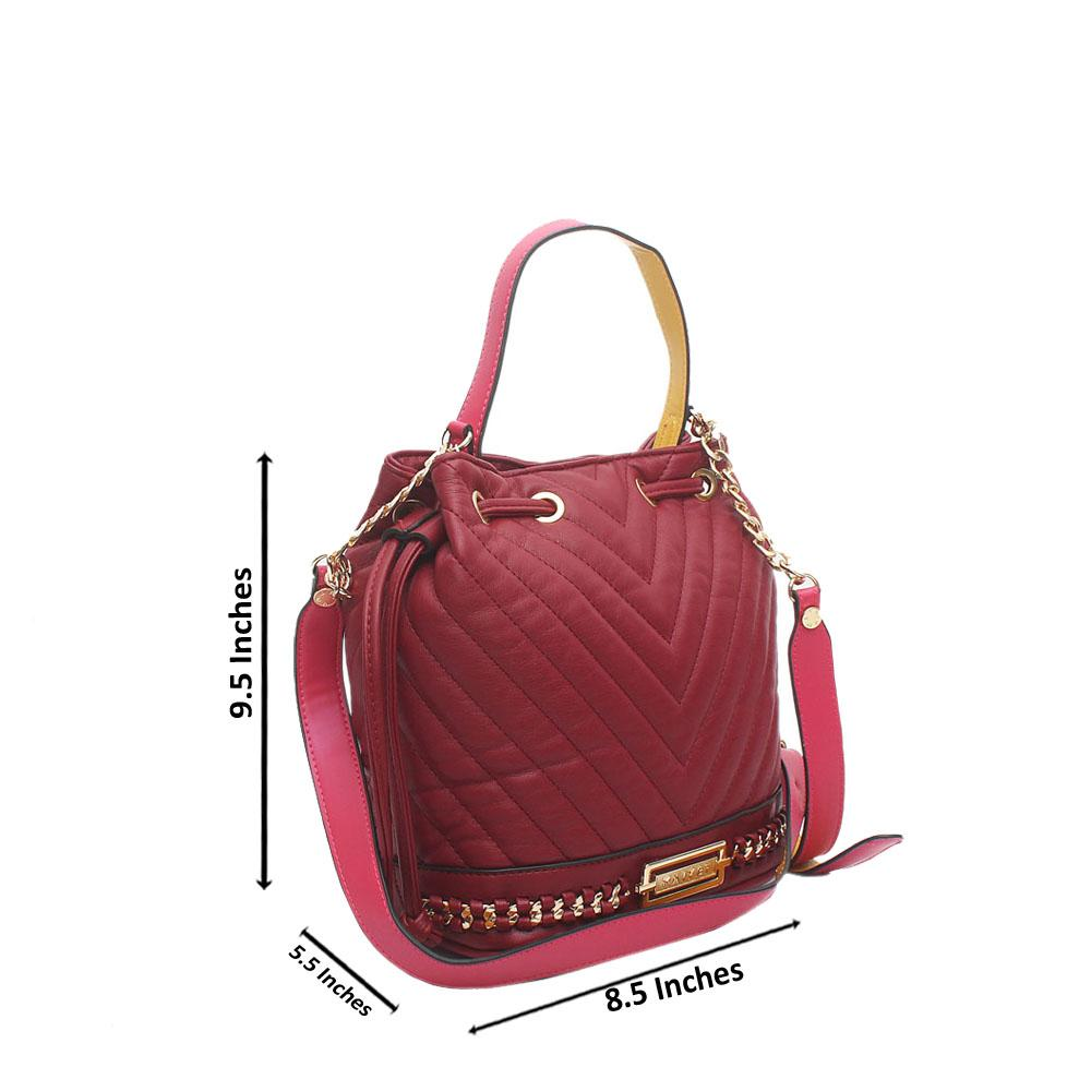 Wine Cavalier Leather Bucket Bag