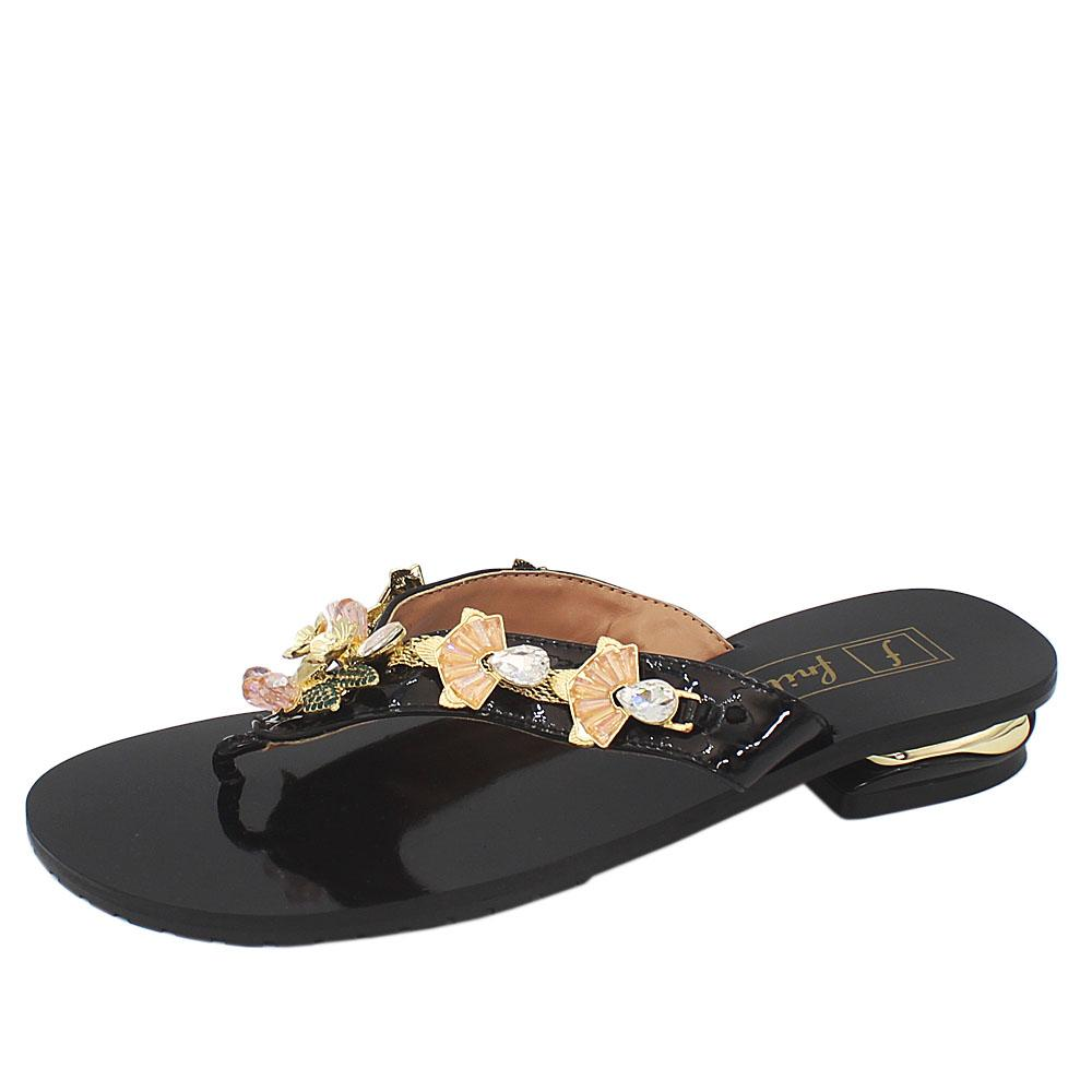 Black Crystals Studded Leather Low Heel Ladies Slippers