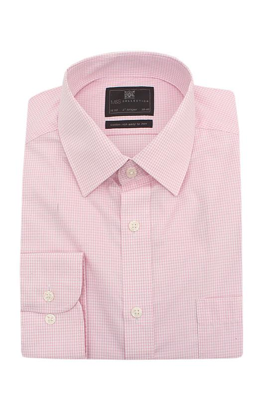 M&S Collection Pink White Check Cotton Rich Regular Fit L/Sleeve Men Shirt