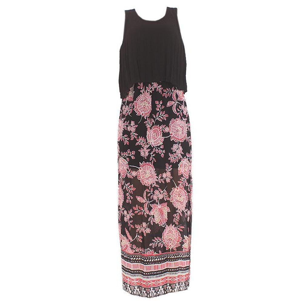 Black Pink Mix Chiffon Sleeveless Dress