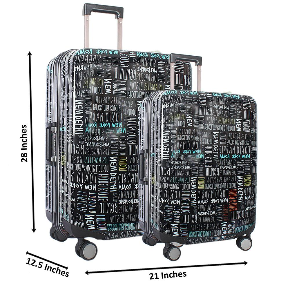 Black 29 Inch wt 24 Inch Graphic Print 2-in-1 Hardshell Luggage Set Wt TSA