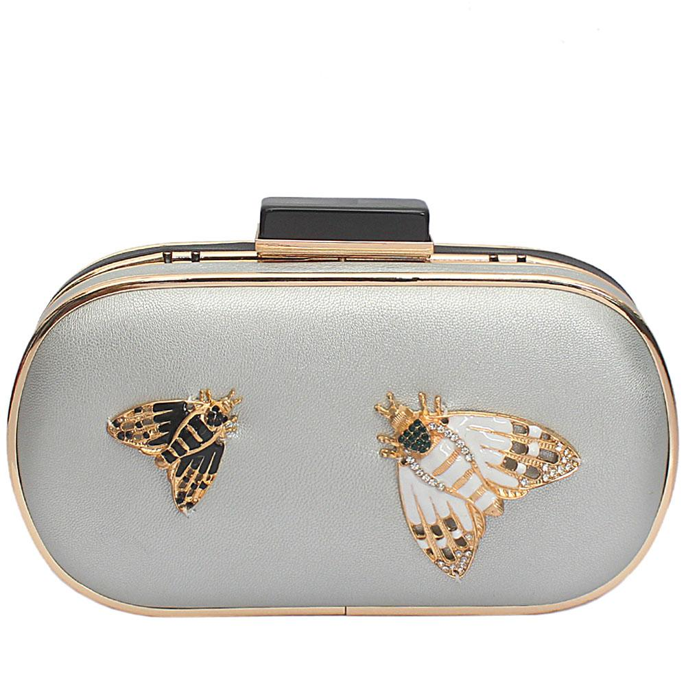 Silver Black Leather Butterfly Premium Hard Clutch