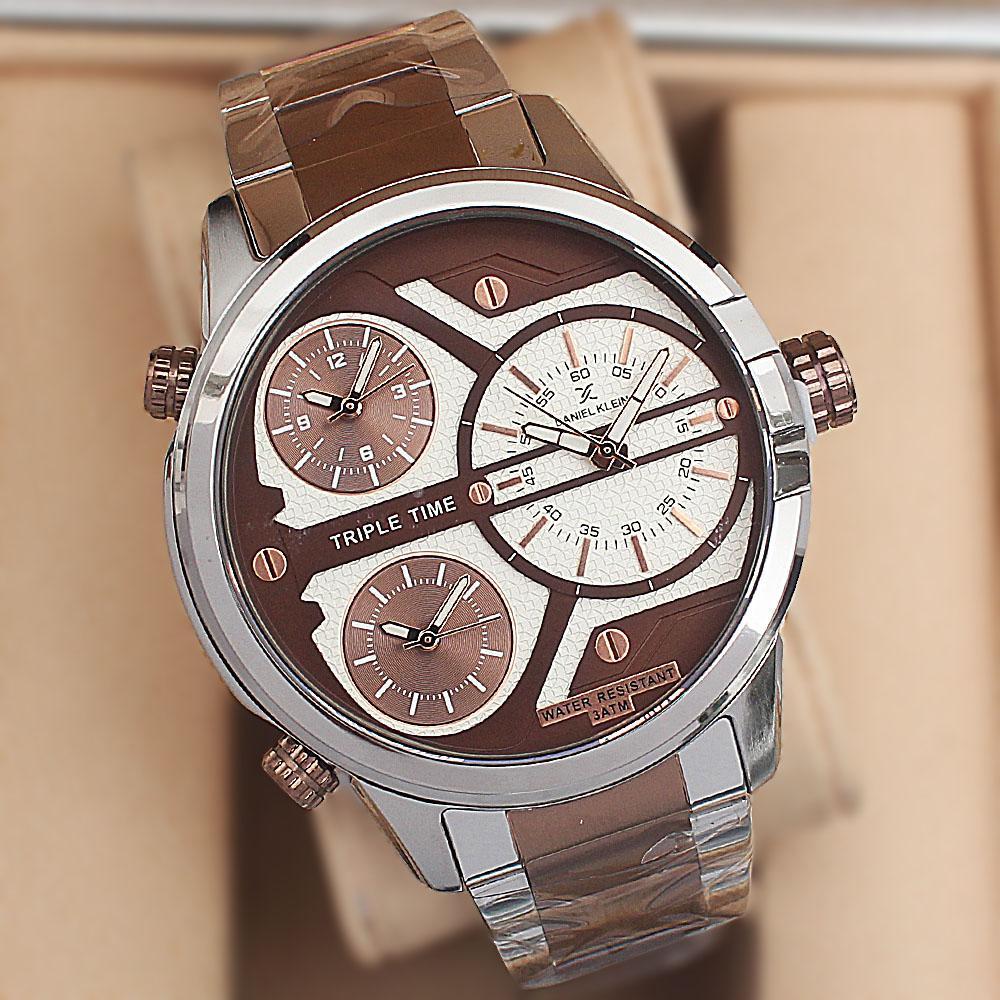 Daniel Klein Triple Time Gold Stainless Steel Fashion Watch