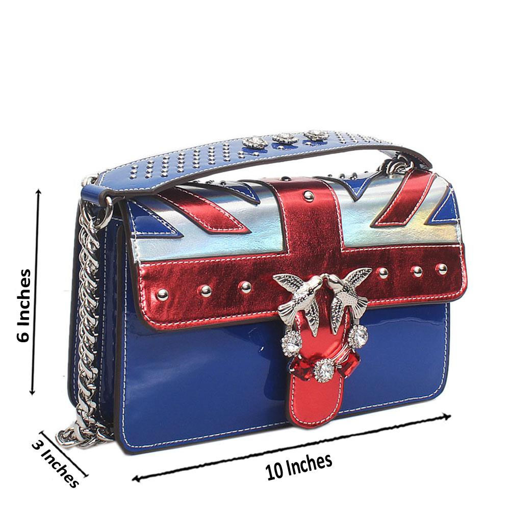 Blue Red  Certilogo Patent Calfskin Leather Crossbody Bag