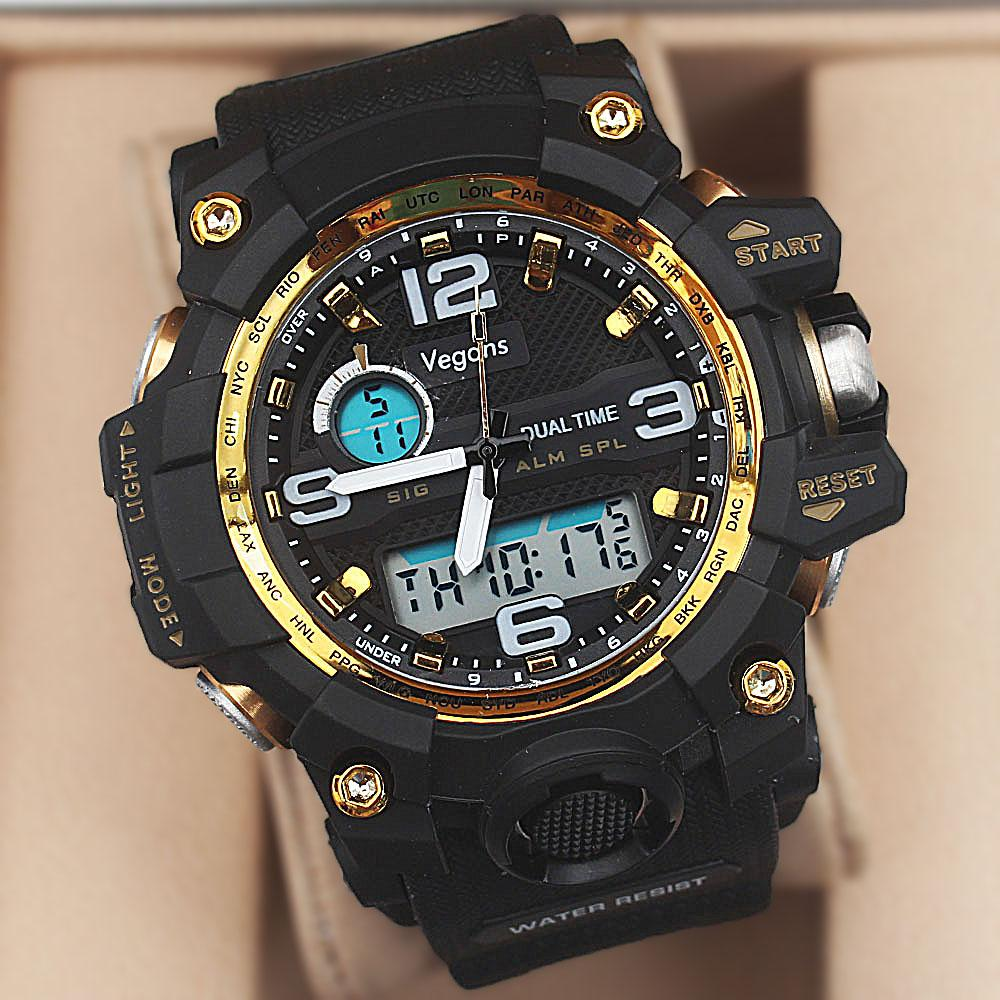Vegans Black Dual Time Watch