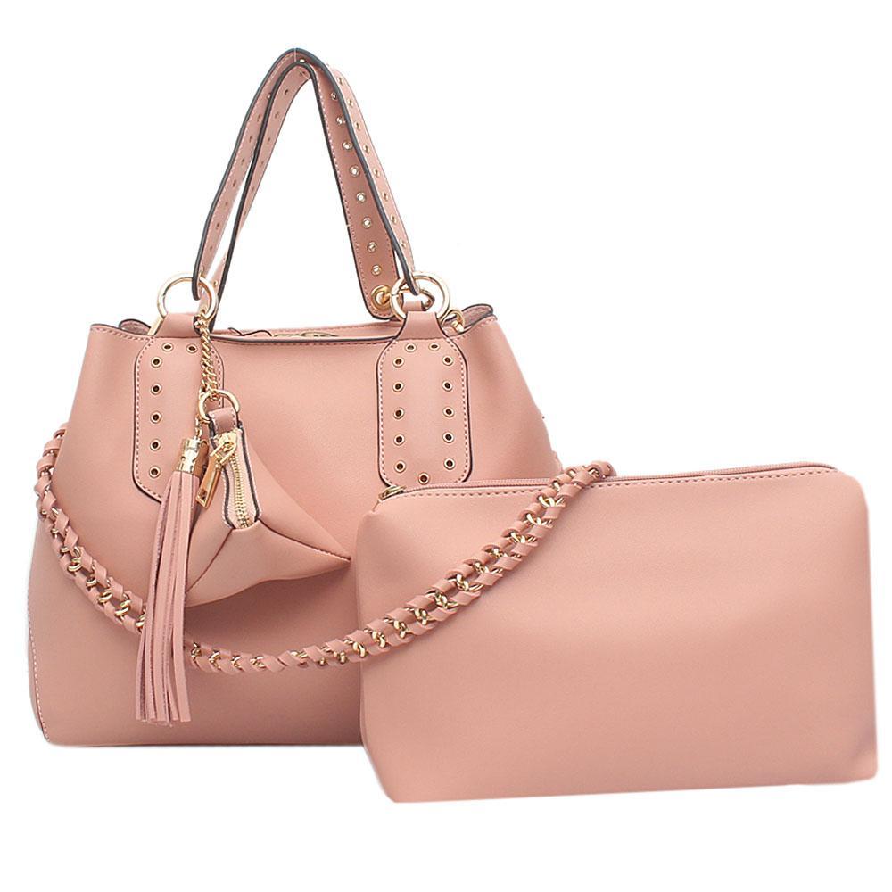London Style Pink Leather Handbag   Wt Purse