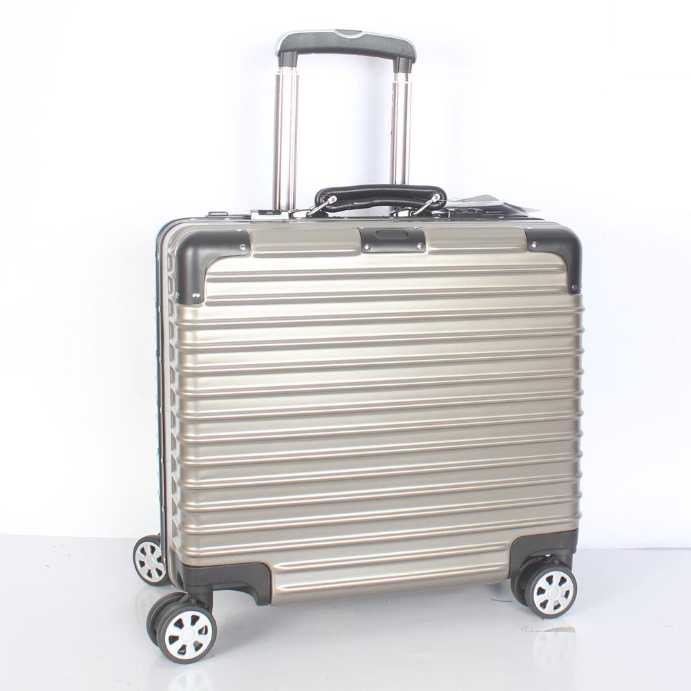 Metalic Gray 14 Inch Hard Shell 4 Wheels Spinners Pilot Suitcase