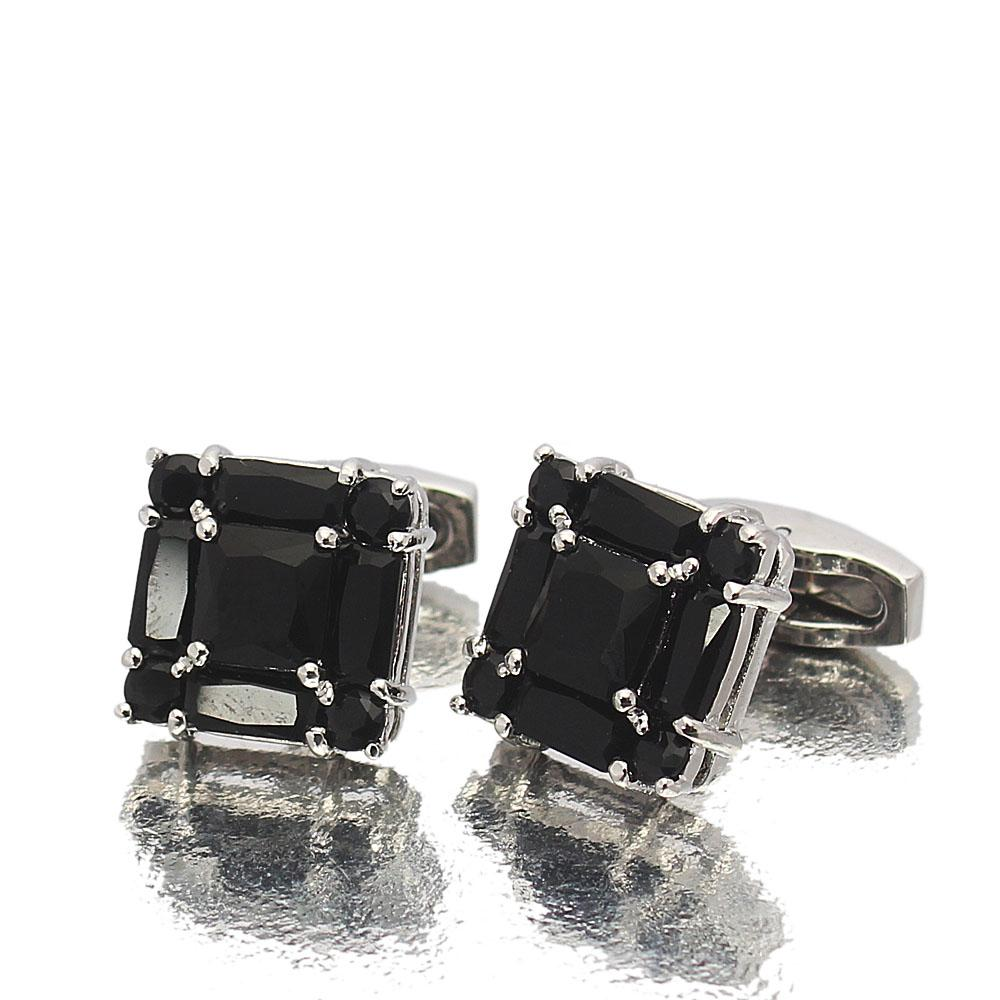 Silver Black Diamond Ice Stainless Steel Cufflinks
