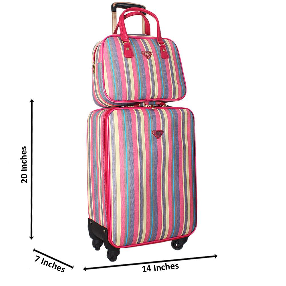 Multicolor 20 Inch Leather 2 in 1 Carry On Luggage Wt Lock