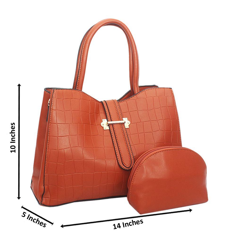 Brown Elsie Croc Leather Tote Handbag