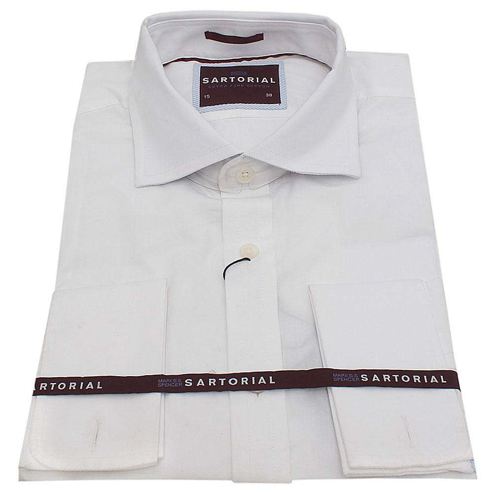 M&S Sartorial White Cotton L/Sleeve Regular Fit Men's Shirt-15
