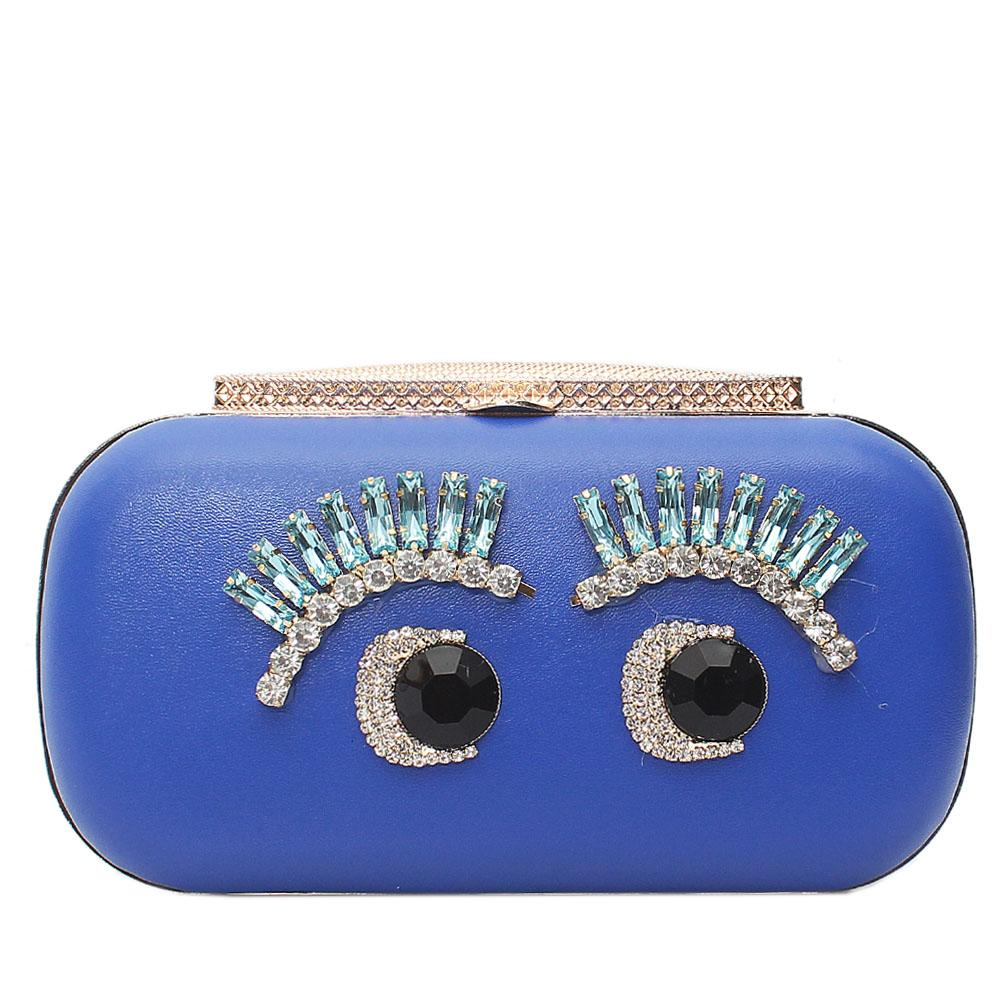 Cute Barbie Blue Leather Hard Clutch Purse