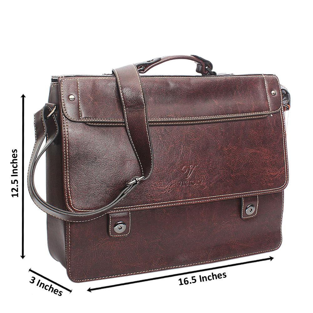 Coffee Threaded Leather Briefcase