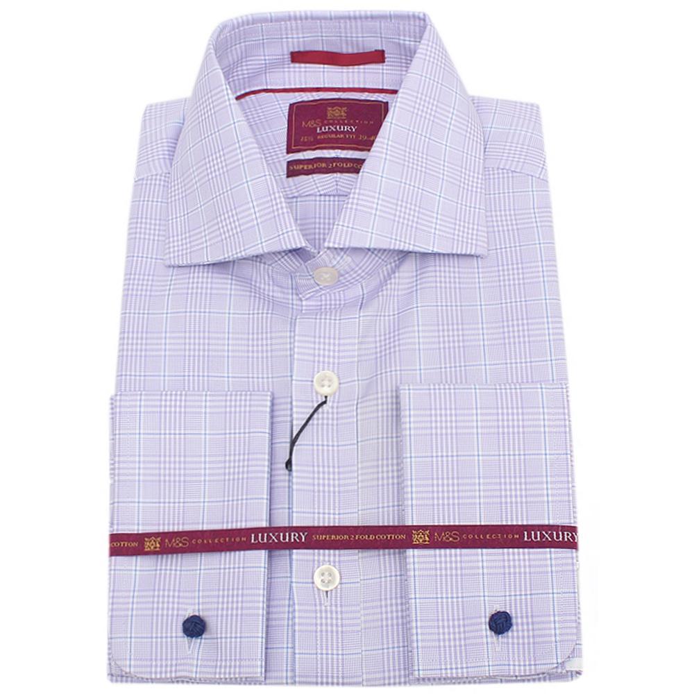 M&S Purple White Striped L/S Regular Fit Men Shirt wt Cuffs