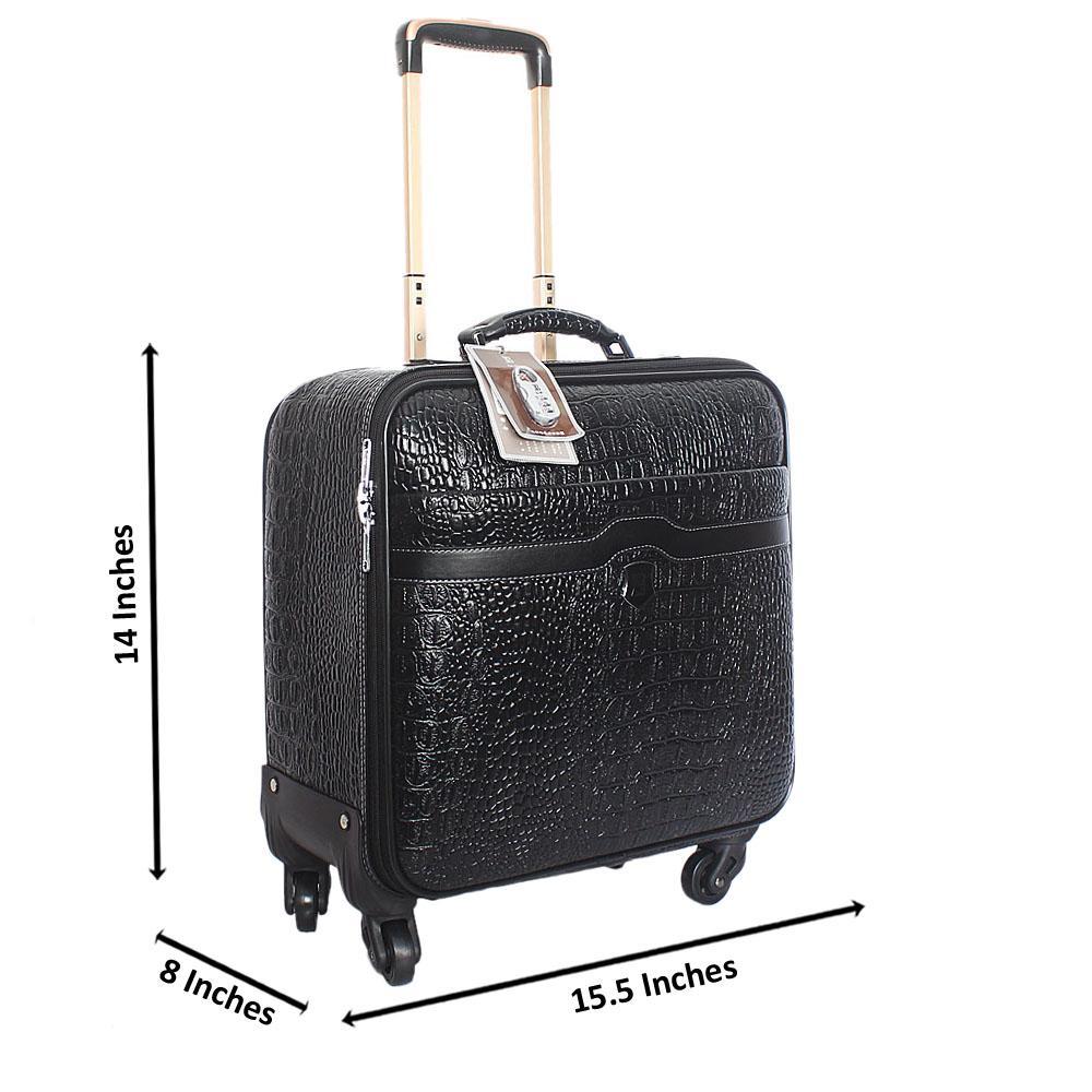 Black Croc Leather 14 Inch Pilot Suitcase Wt Padlock