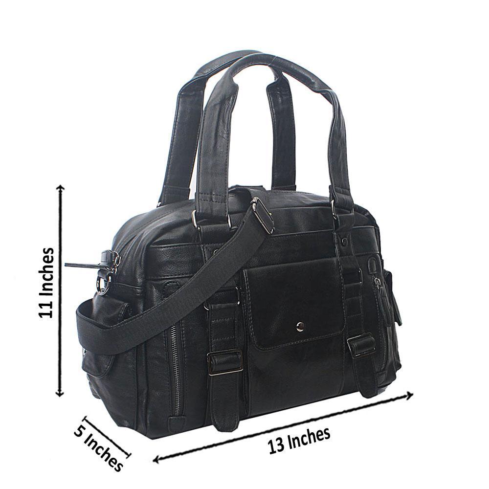 Casania Black Central Pocket Overnight Travel Bag