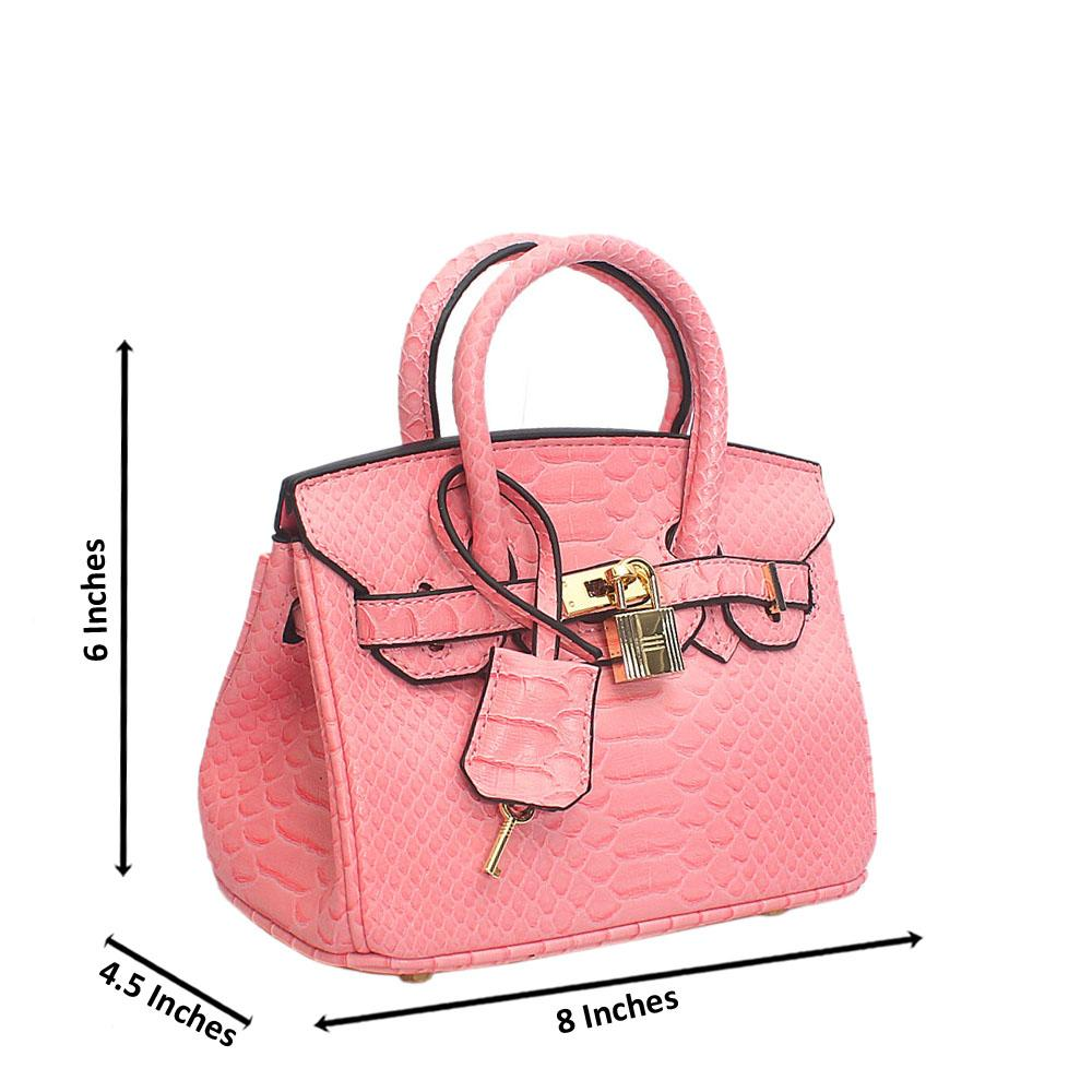 Pink Cutie Barbie Croc Tandy Leather Mini Handbag