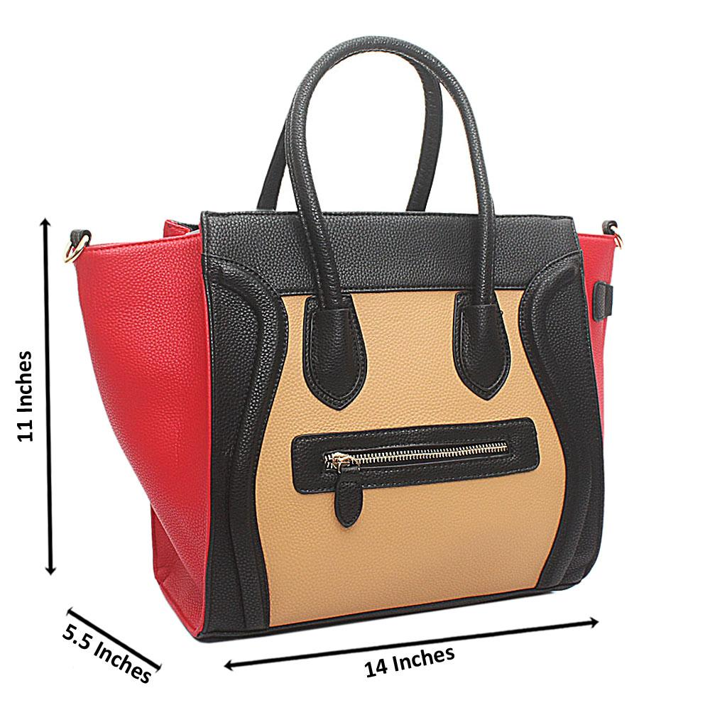 Black Brown Red Leather Micro Luggage Tote Bag