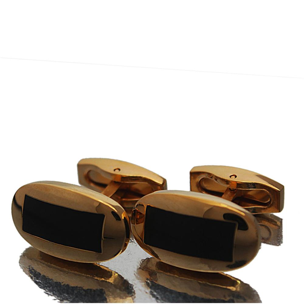 Gold  Black Etched Stainless Steel Cufflinks