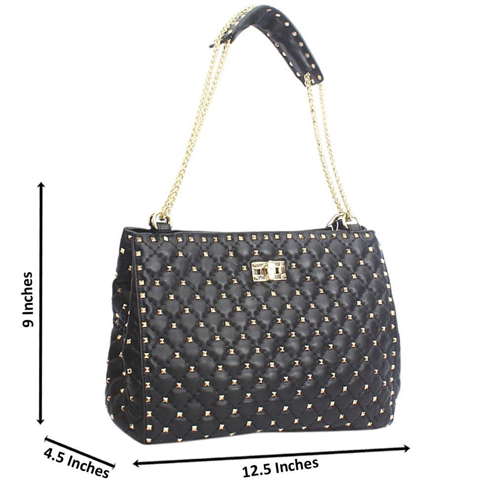 Black Universe Candy Stud  Chain Handle Cow Leather Handbag