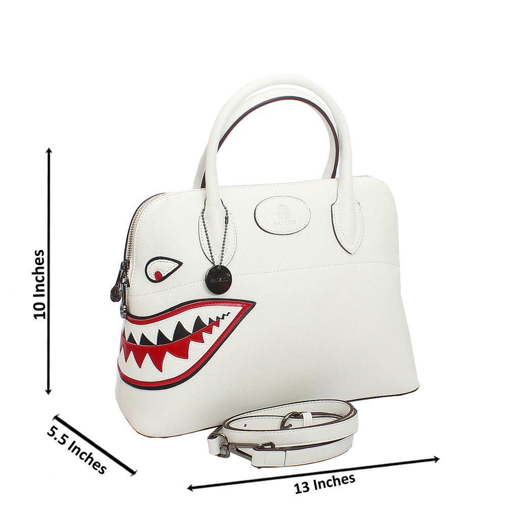 Baizili White Dual Style Italian Leather Handbag