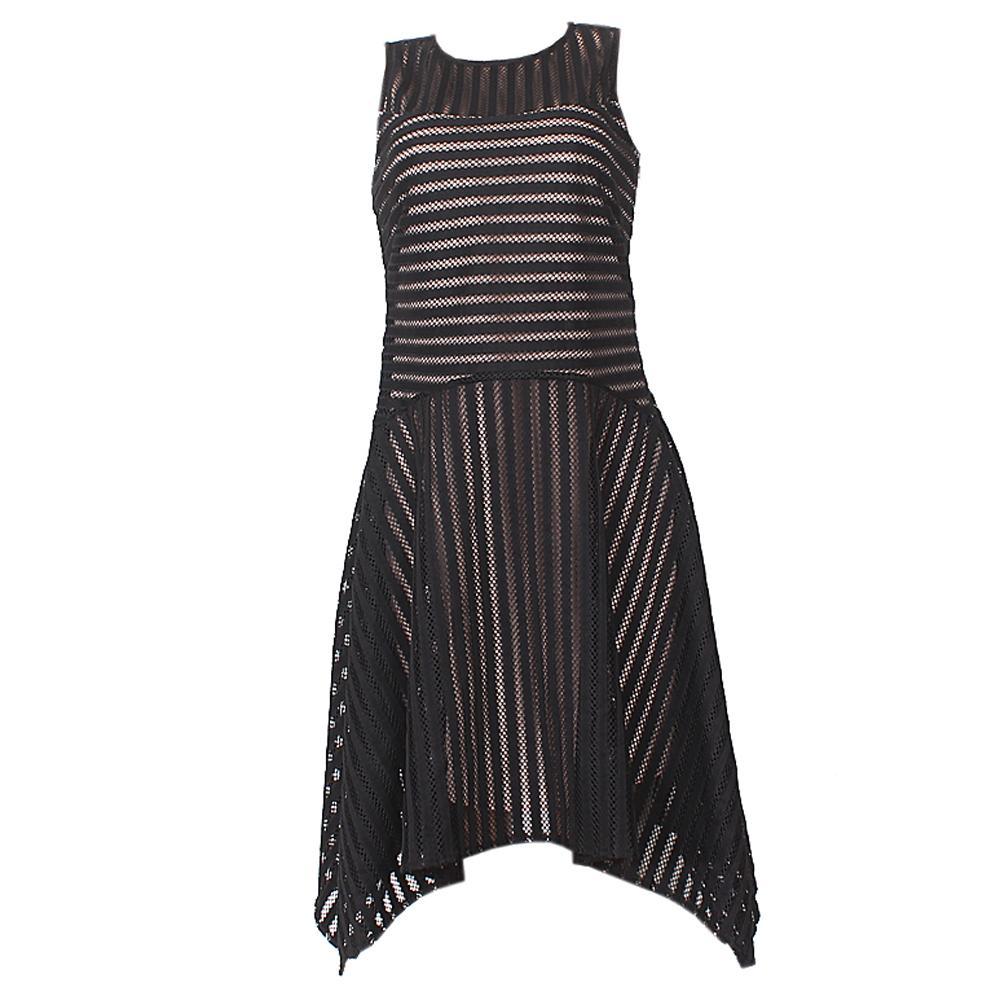 M & S Autograph Black Cotton Sleeveless Net Dress