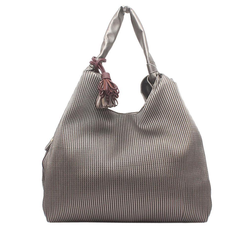 London  Style Grey Leather Shoulder Bag
