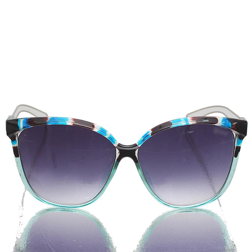 Silver Blue Oblong Dark Lens Sunglasses