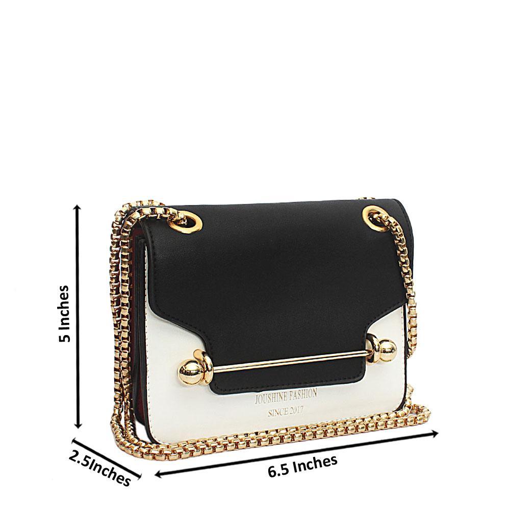 Black White Joshuine Leather Mini Crossbody Bag